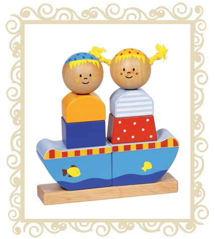 Goki Stacking Boy & Girl. Chunky and sweet, great for little hands and a simple design. A gorgeous stacking puzzle to delight the young ones and help with coordination and dexterity. 9 wooden pieces form a charming image of a boy and a girl on a sailboat. All GOKI products are designed in Germany and manufactured to strict quality and safety standards, meeting both European and Australian requirements. Age Range: 2 years+ Dimensions: 16cm x 4cm x 17cm  $29.95