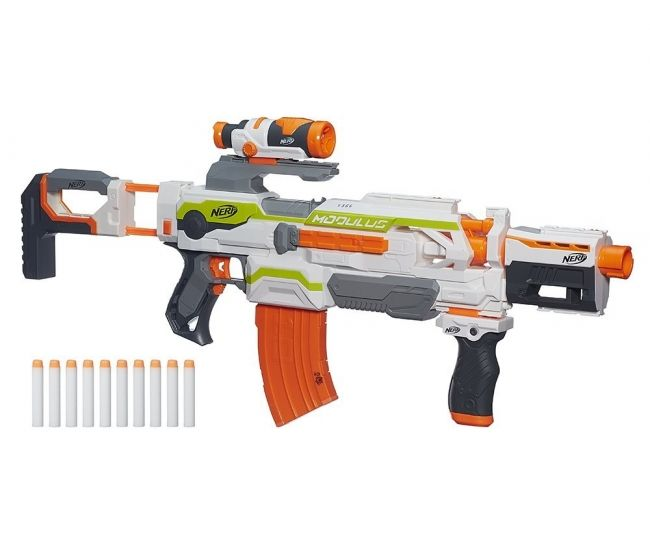One of the ultimate kids toys, the NERF N-Strike Modulus ECS-10 Blaster is a customizable NERF gun with 30 combinations allowing you to build the NERF blaster you've always wanted. Features  targeting scope, drop grip and dual-rail barrel which can fire up to 90 feet away.