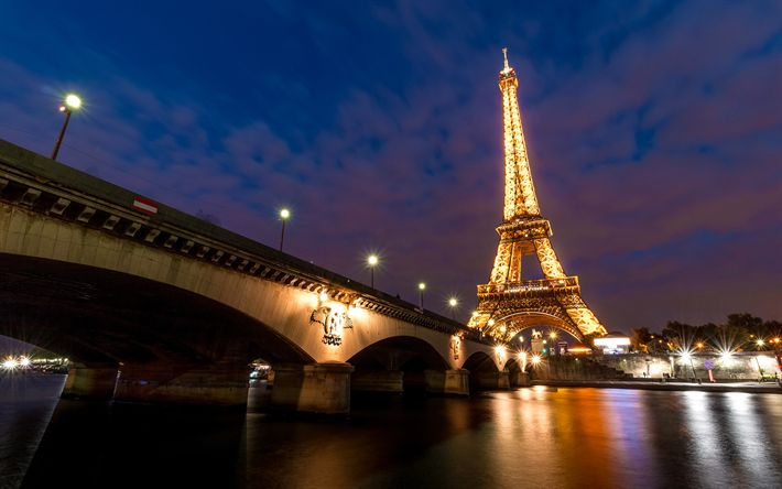 Download wallpapers Paris, Eiffel Tower, evening, city lights, river Seine, France