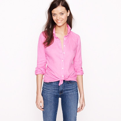 Perfect shirt in linen: Clothing, Basic Linens, Jcrew Perfect, Cute Outfits, 79 50Select Colors 59 50Item, Pink Shirts, Perfect Shirts, Knot, Linens Shirts