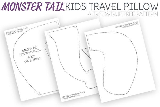 Monster Tail Kid's Travel Pillow - Pattern