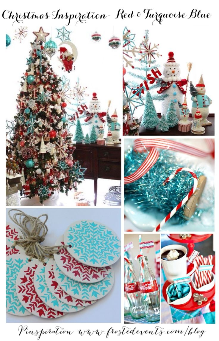 White christmas tree with red decorations - Christmas Inspiration Red Aqua