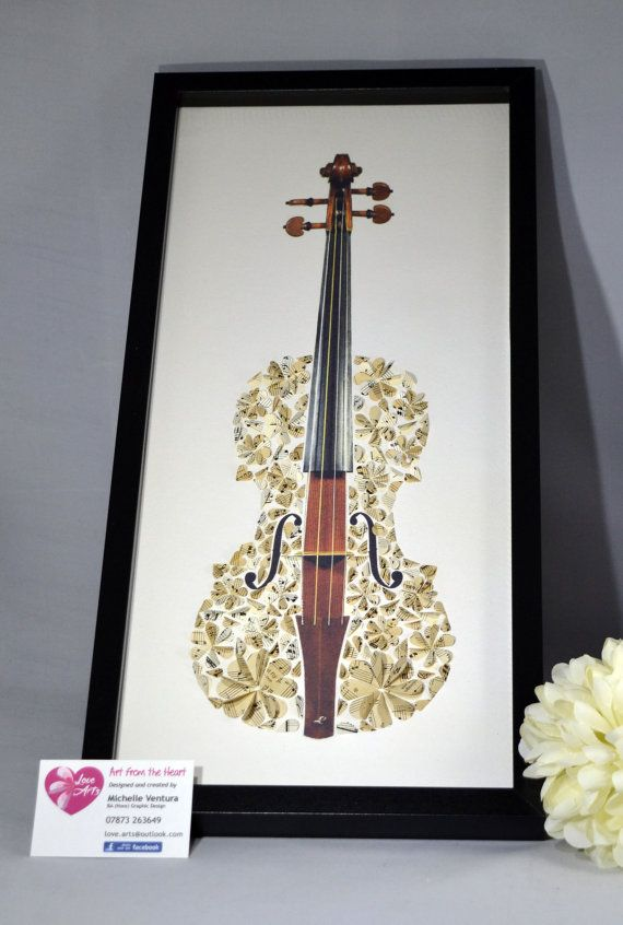 Violin Picture  Framed 3D Paper Hearts by LoveArtsbyMichelle
