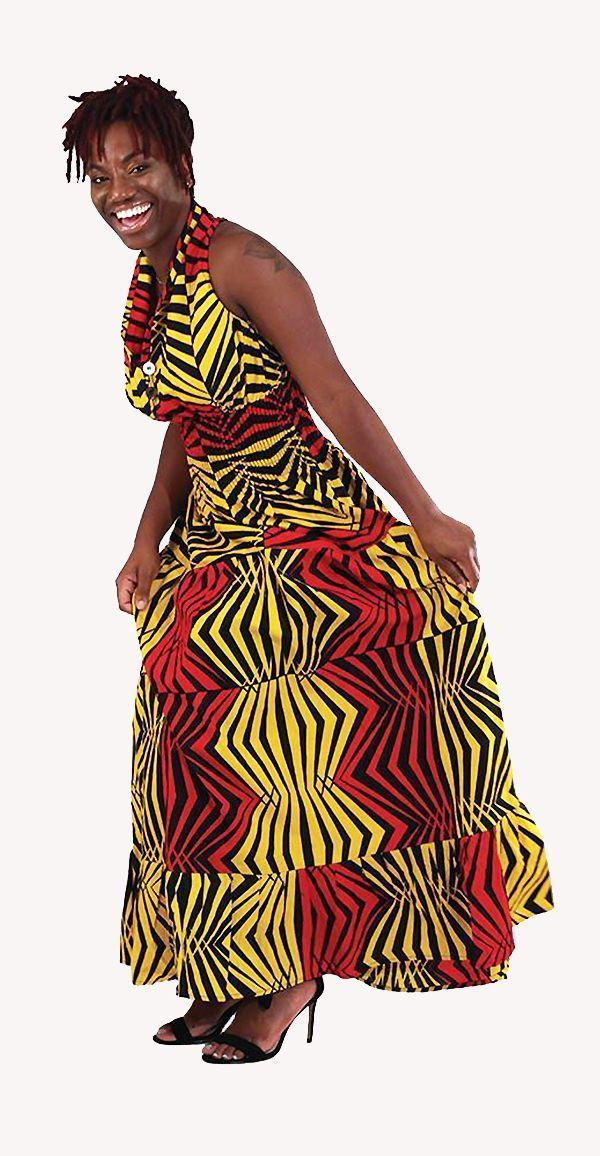 779c1d1658 Red Yellow Sleeveless Zebra Print Dress