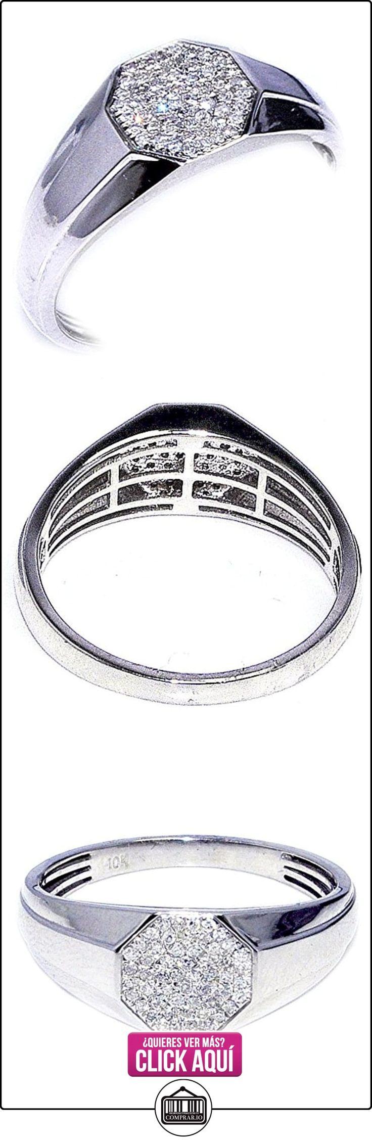 Midwest joyas hombre Diamond Fashion Anillo 0,15quilates oro blanco de 10K 8,7mm de ancho (I/J Color 0,15quilates)  ✿ Joyas para hombres especiales - lujo ✿ ▬► Ver oferta: https://comprar.io/goto/B00SDMALCY