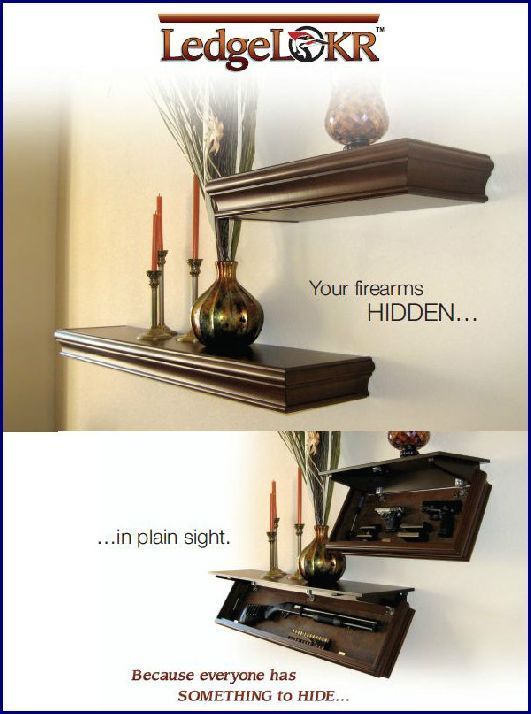LedgeLocker hidden gun safe - what as great idea to keep them safely away from kids too! As long as you don't show them! #gunsafes #safes