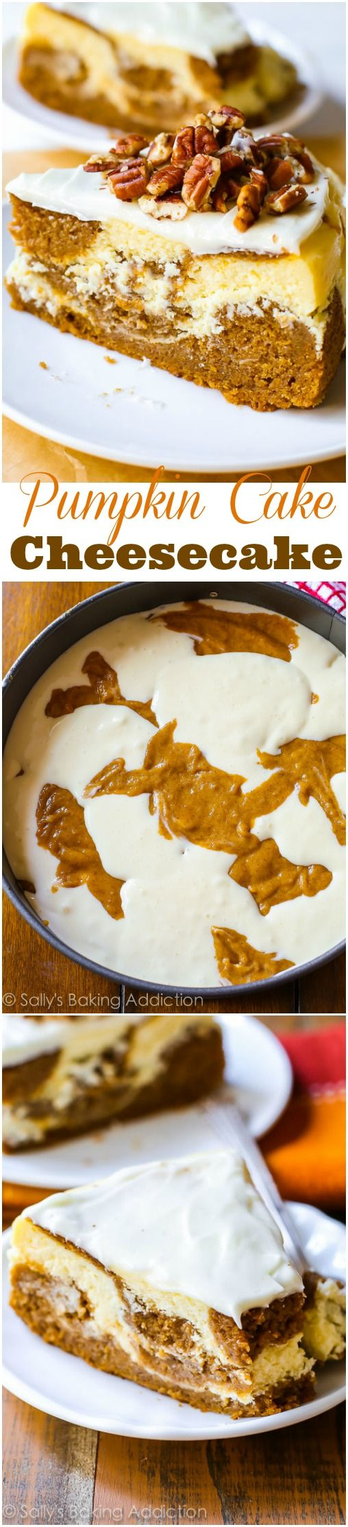 Simply divine pumpkin cake swirled with rich and creamy cheesecake. This is something every pumpkin lover should try this fall!