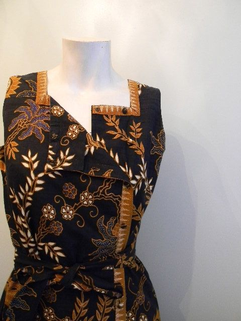 vintage. Handmade Indonesian Batik Dress / Navy by styleforlife, $98.25