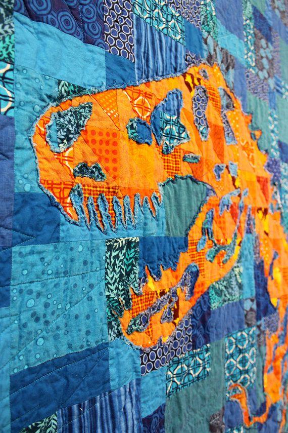 """""""Orange T. Rex Quilt"""" by Daniel Rouse   [RAR means I Love You!] etsy.com"""