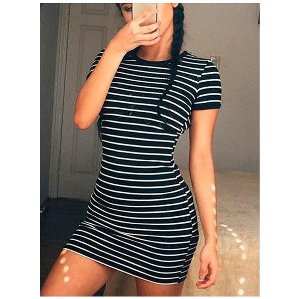 Casual Round Neckline Striped Bodycon Dress ($23) ❤ liked on Polyvore featuring dresses, blue body con dress, body conscious dress, bodycon dress, blue bodycon dress and blue dress