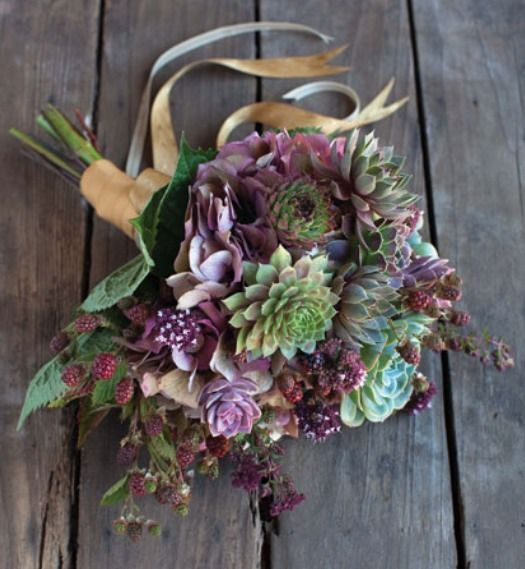 I LOVE THE SUCCULENTS!! autumn bouquet with succulents- loosely tied with ribbon