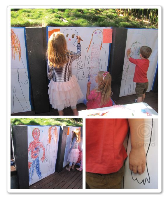 Outline kids on large paper and let them get creative, colouring in. A great idea for birthday parties. See what we did here. http://www.tomfo.com/a-birthday-party-for-a-4-year-old-the-malteser-chocolate-cake-tissue-pom-pom-balls-party-games