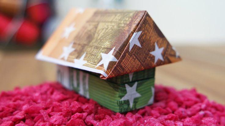 Geldscheine falten Haus  Origami Geldgeschenk zum Richtfest Anleitung