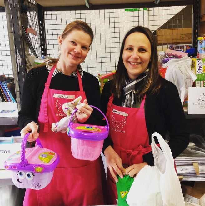 Does your company have a community service program? Are you encouraged to volunteer with your team? Why not join us?! Deanna & Leanne from NAB did and enjoyed sorting preloved toys and making up toy gift bags. Please share this post with your colleagues or forward to your HR department. Get a team together and get on down here! There are plenty more toys to pack and there are kids that need them... Thank you. http://www.stkildamums.org/help/workplace-volunteering/