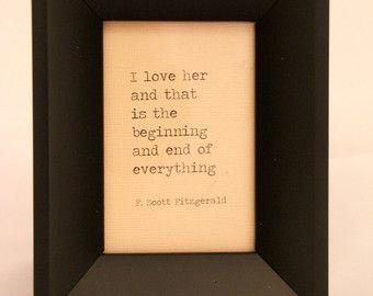 F Scott Fitzgerald Love Quote Made On by WhiteCellarDoor on Etsy