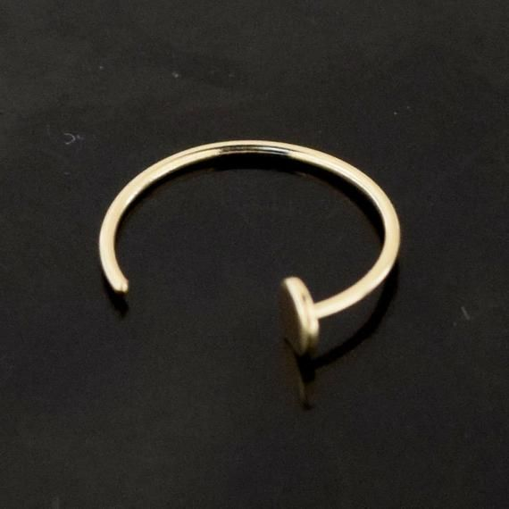 9ct Gold Nose Ring Open Nose Hoop With Round Flat End 8mm Gold