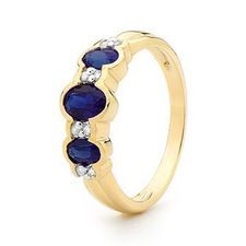 Sapphire Ring - With Diamonds - Yellow Gold - BEE-24914-SLG