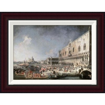 """Global Gallery Reception of French Ambassador In Venice by Canaletto Framed Painting Print Size: 15.2"""" H x 20"""" W"""