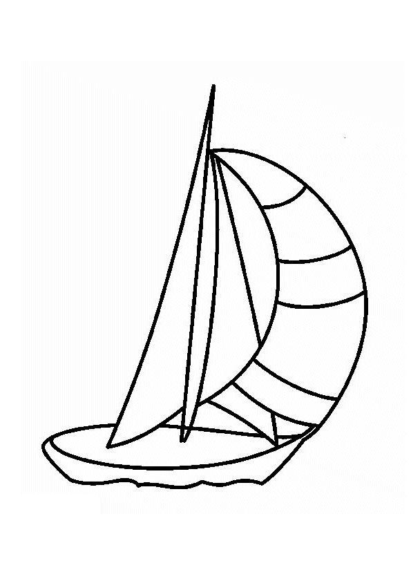 Image d'un petit voilier à colorier.