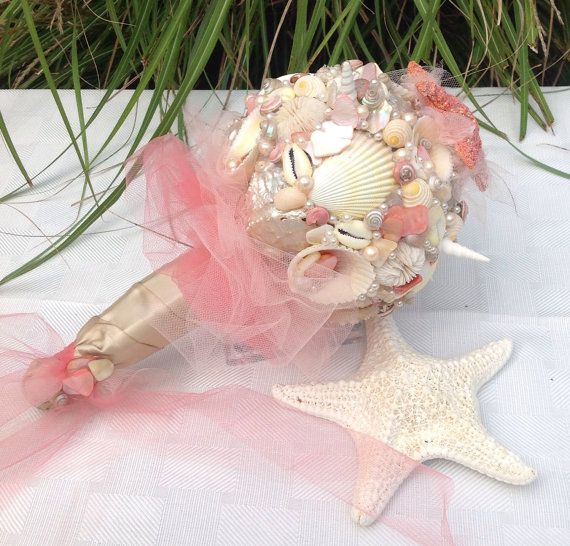 Starfish Bouquet Sea Shell Pink By BeachBasketBride 14000 BouquetFoot BraceletSea ShellsDestination WeddingBeach