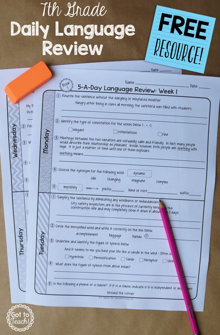 A free daily language review for 7th grade.  Review important grammar and vocabulary skills each day for one week.
