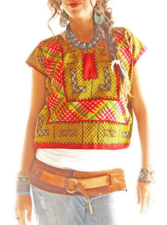 Frida vintage Mexican blouse Huipil Oaxaca intricate colorful embroidery