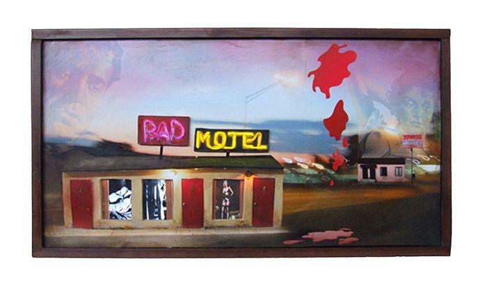 Very bad motel, 2010, Wood, inkjet print, paint, LCD screen, media player, speakers, transformers, 32.6 x 60.5 x 8 cm, ed. of 5 + 2AP