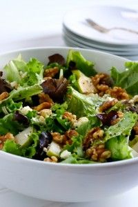 Pear Salad with Walnuts and Feta- add dried cranberries ( also good w blue cheese instead feta)