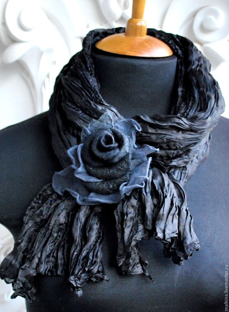 Купить Шелковый шарф-палантин Драма - черный, однотонный, шелковый шарф, шелковый платок
