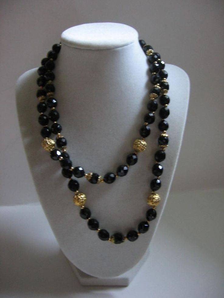 Gorgeous Long Vintage Black Faceted Glass Gold Filigree Beads Necklace 1960 | eBay