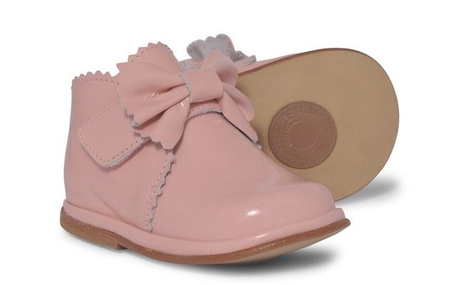 Baby Girls Pink Patent Velcro Boot
