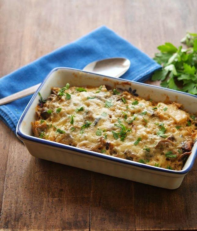 cauliflower & mushroom casserole. More primal than paleo because of the cheese & greek yogurt. Looks yummy though!