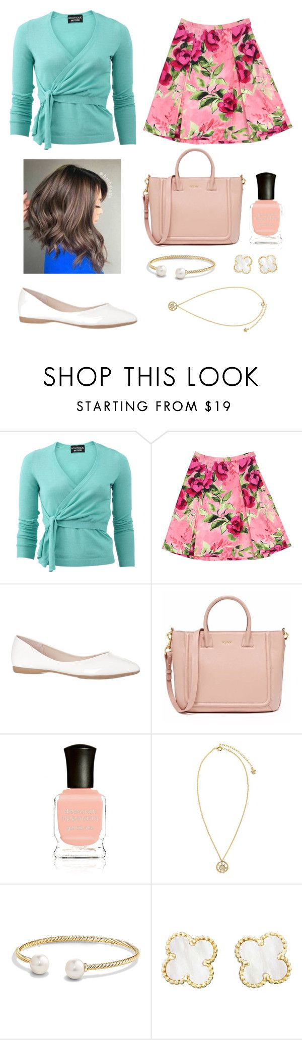 """""""moschino shirt   pink skirt   long bob   white flat   nail with bag"""" by taissax ❤ liked on Polyvore featuring Boutique Moschino, Love Moschino, Deborah Lippmann, Versace, David Yurman and Van Cleef & Arpels"""