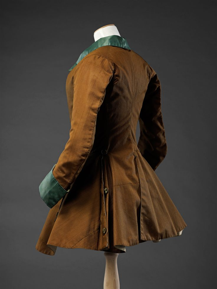1740s Riding Jacket; Worsted wool, trimmed with brocaded silk and silk satin (view 4)