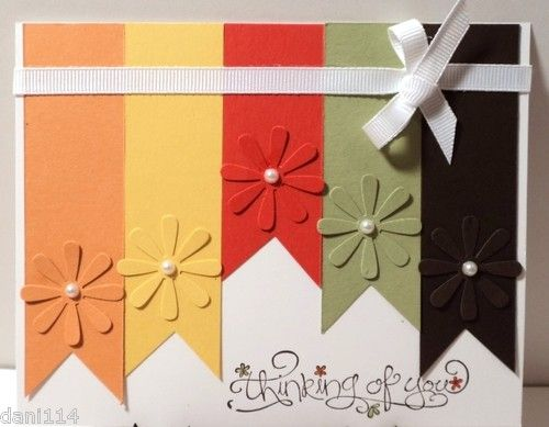 "THINKING OF YOU ""RIBBONS"" Card Kit made with Stampin Up & EK Success products"