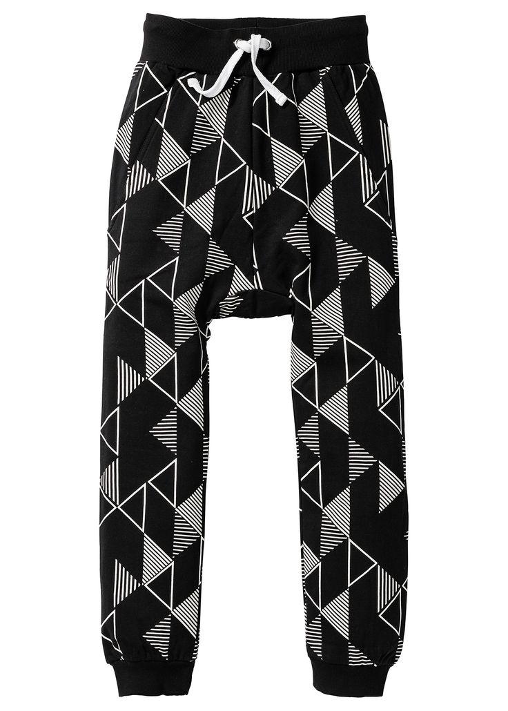 Sportovní kalhoty, bpc bonprix collection, černo-přírodní bílá se vzorem