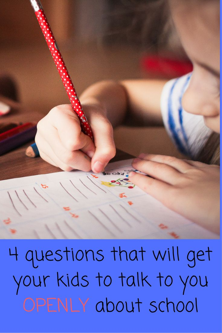 4 questions that will get your kid to talk to you more OPENLY about school.  These have really helped deepen our communication skills and I know they will help you and your children as well! Find more parenting tips at www.onlygirl4boyz.com