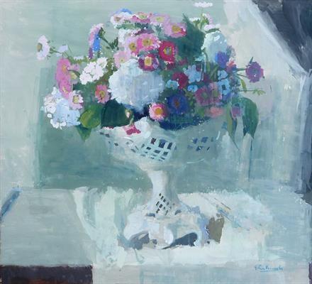 Petran Vermeulen, gouache op papier, bloemstilleven.