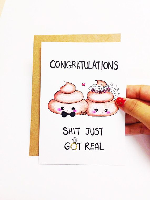 Congratulations! Shit just got real. ♥ Design is hand drawn by yours truly using good ol pencil crayons, then scanned and printed on high