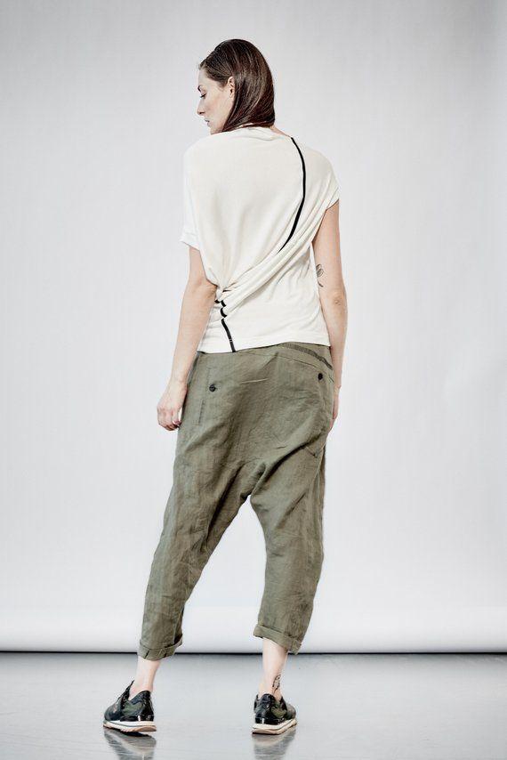 981ce0e528c0df Military Green Linen Pants / Modern Pants / Handmade Pants / Stylish Linen  Pants / Women / Arya / Loose Linen Trousers by AryaSense