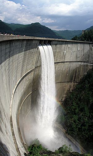Vidraru dam, Arges, Romania. Vidraru Dam was completed in 1966 on the Argeş River and creates Lake Vidraru. The arch dam was built with the primary purpose to produce hydroelectricity. It has become a popular site for bungee jumping. http://romaniasfriends.com