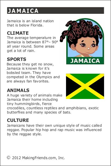 Jamaica Fact Card for your Girl Scout World Thinking Day or International celebration. Free printable available at MakingFriends.com. Fits perfectly in the World Thinking Passport, also available at MakingFriends.com