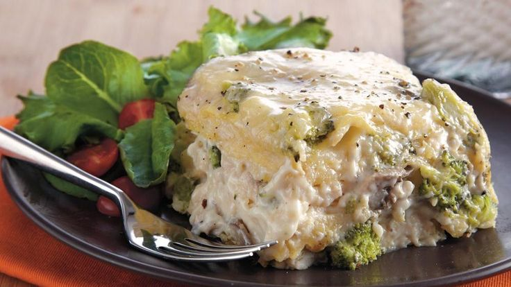 Looking for an Italian dinner tonight? Then check out this hearty slow cooked lasagna featuring chicken, noodles and Green Giant® Valley Fresh Steamers® Select® broccoli.