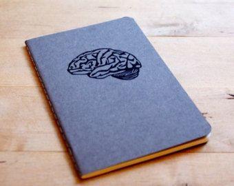 Gray Matter Brain Anatomy Science Pocket Size Moleskine Journal Notebook Hand Carved Design Nerd Geek Back to School
