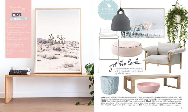"""Aimee Tarulli on Instagram: """"A few of my favourite things gracing my """"get the look"""" page in the latest issue of @adoremagazine available to read online now. Including two of my favourite art pieces I have in my own home """"Pink Desert"""" on the left from @theartworkstylist styled by me and  @redrabbitphotography and """"Golden"""" by @brookeholm  #interiors #interiorinspo #interiorstyling #styling"""""""