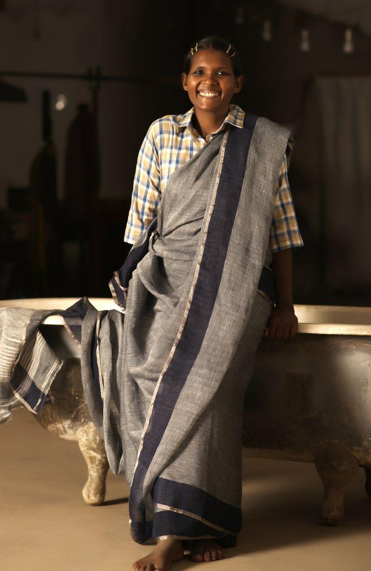 agatha in yarndyed indigo linen !!