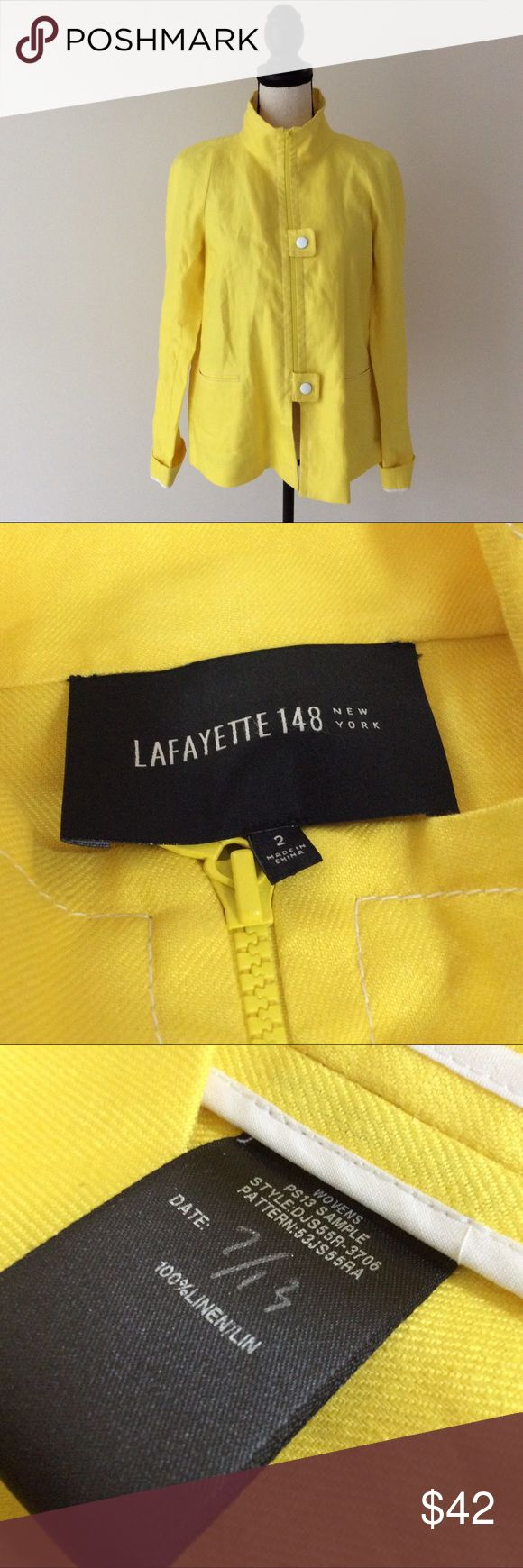 Lafayette 148 Women's Yellow Linen Zip Up Jacket # In excellent preowned condition.Small wear signs mentioned in the last picture. Lafayette 148 New York Jackets & Coats