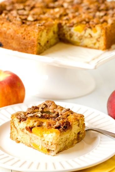 Peach Coffee Cake — This cake melts in your mouth due to the sour cream and natural juices from the peaches. Via @Michelle (Brown Eyed Baker)