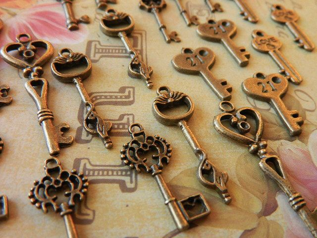 42 antiqued bronze delicate skeleton by GlowberryCreations on Etsy, $13.99