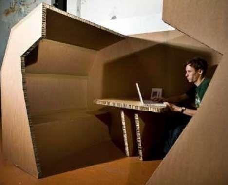 diy cardboard workspace complete with desk and seat
